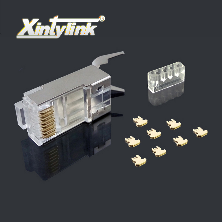 xintylink rj45 connector ethernet cable plug cat7 cat6a male network gold plated 8P8C metal shielded stp 8pin load bar 1.3mm 50u rj45 8p8c male to male high speed cat6a flat lan network cable purple 1485cm