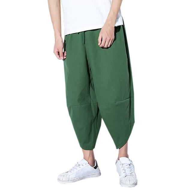Kwaliteit 2019 Zomer nieuwe Trendy Heren Losse Broek Casual Pocket Katoen Linnen Broek Enkellange Broek Mannen Kleding A412