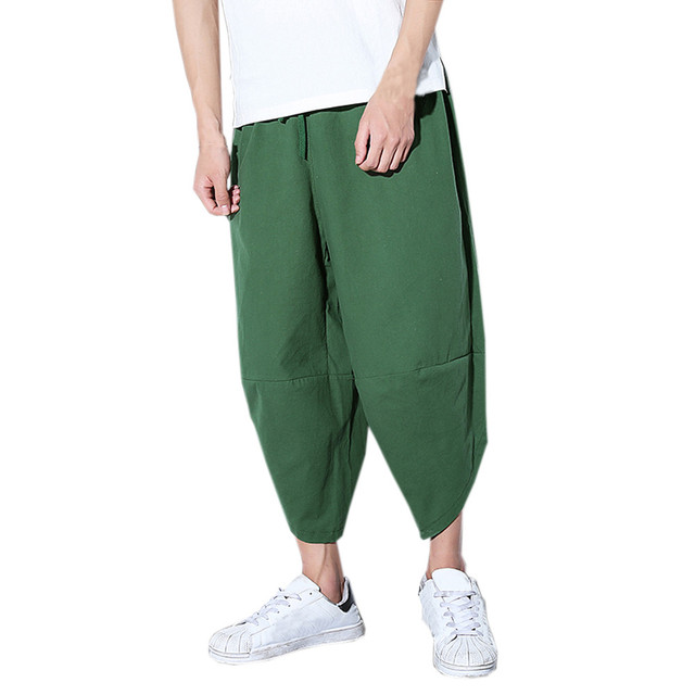 Quality 2019 Summer new Trendy Mens Loose Pants Casual Pocket Cotton Linen Pants Ankle Length Trouser Men Clothing A412