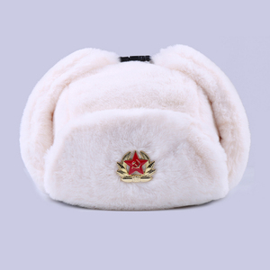 Image 2 - Soviet Badge Ushanka Russian Men Women Winter Hats Faux Rabbit Fur Army Military Bomber Hat Cossack Trapper Earflap Snow Ski Cap