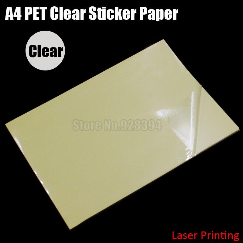 30pcs A4 Clear Transparent Pet Film Adhesive Paper Sticker