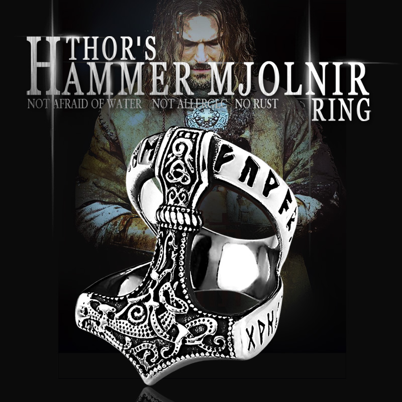 Beier Stainless Steel Norse Viking Nordic Myth Thor Hammer High Quality Fashion Wholesale Ring Fashion Jewelry BR8-567