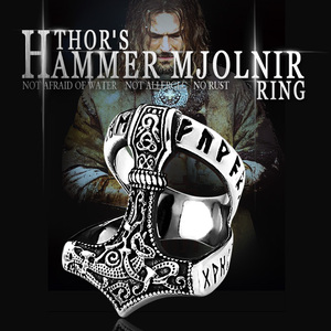 Beier Stainless Steel Norse Viking Nordic Myth thor hammer High Quality fashion wholesale ring fashion jewelry BR8-567(China)