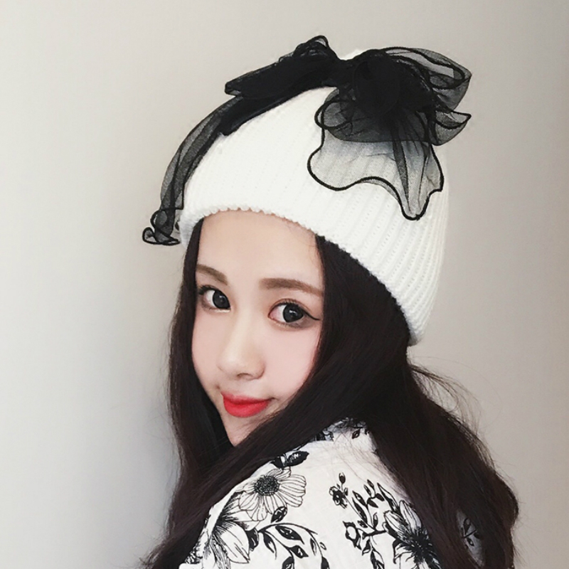 Winter Skullies Beanies Hat Women 2017 New Hot Fashion Casual Warm Lace Bow Cute Thick Knitting Hats skullies