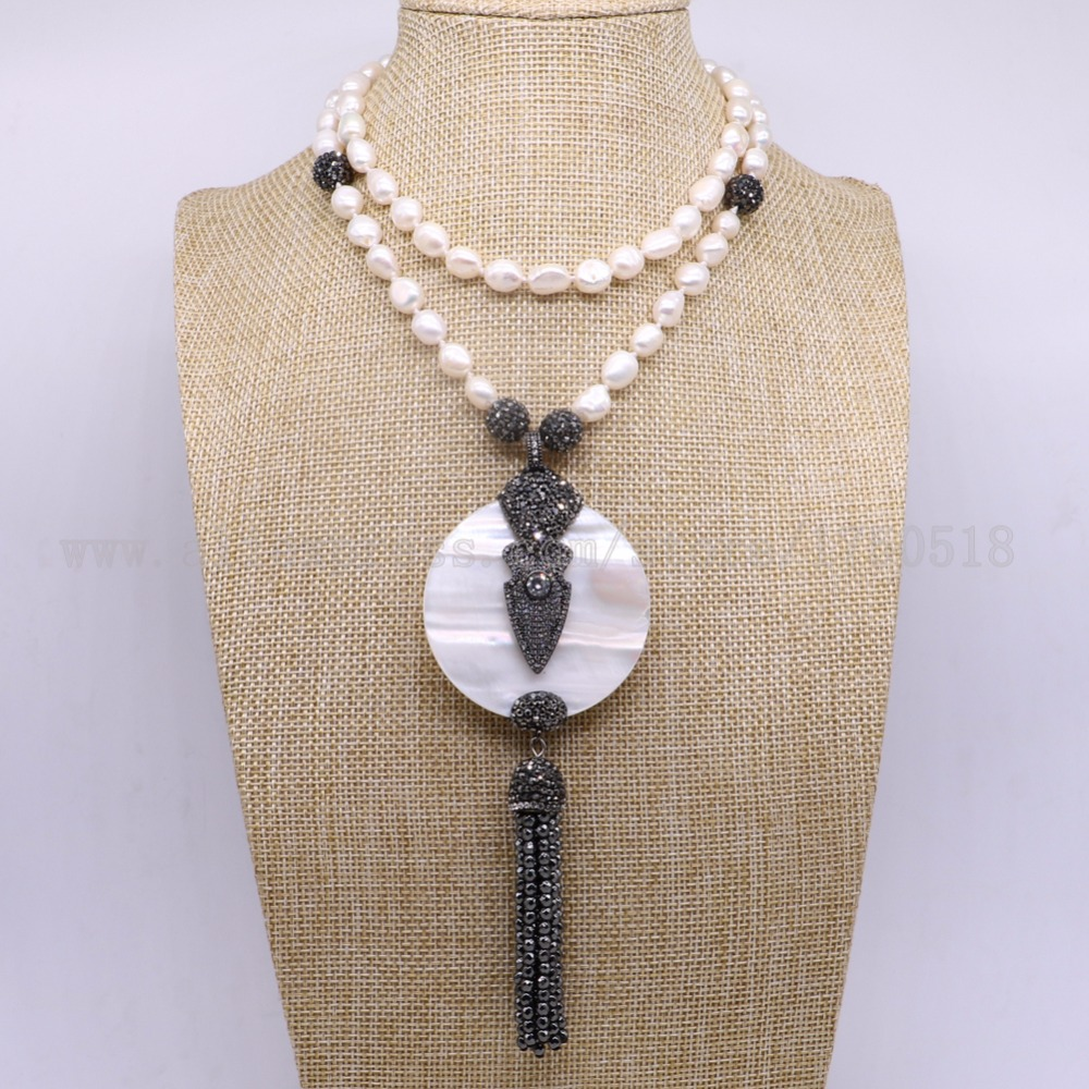 3 pieces pearl necklace Natural white round shell pendants necklace with zircon beads pendant gems for women 3154