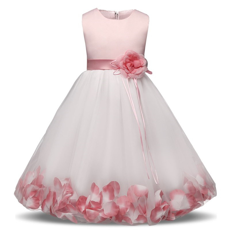 Petals Baby Girl Kid Dress Children Wedding Birthday Party Dresses Outfit Baby Girl Dress Girl Christening Gown vestido infantil new lace first birthday outfit girl romper dress summer white cotton baby girl dresses party and wedding christening dress