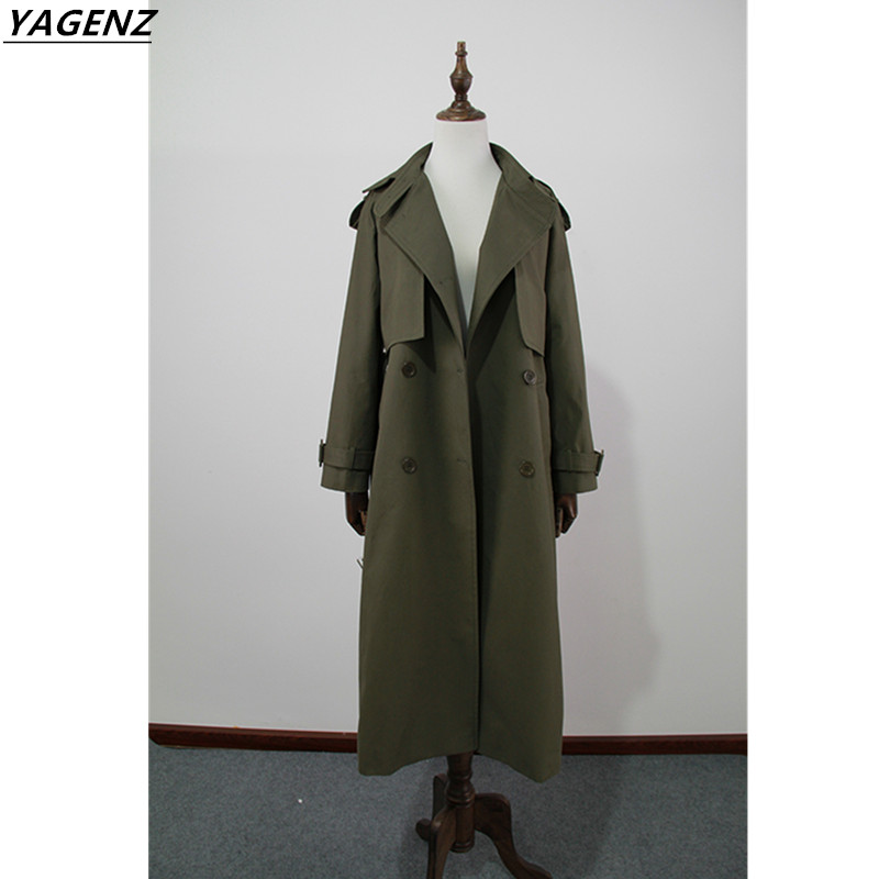 High Quality Women Basic Coats 2017 Fashion Trend New Spring Autumn Medium Length Style Army Green Loose Student Clothing YAGENZ
