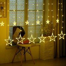 2 м 138 светодиодный светильник с романтической сказочной звездой, светодиодный светильник для занавесок, теплый белый, EU220V/батарейный блок, гирлянда, светильник для свадьбы, вечеринки, праздника