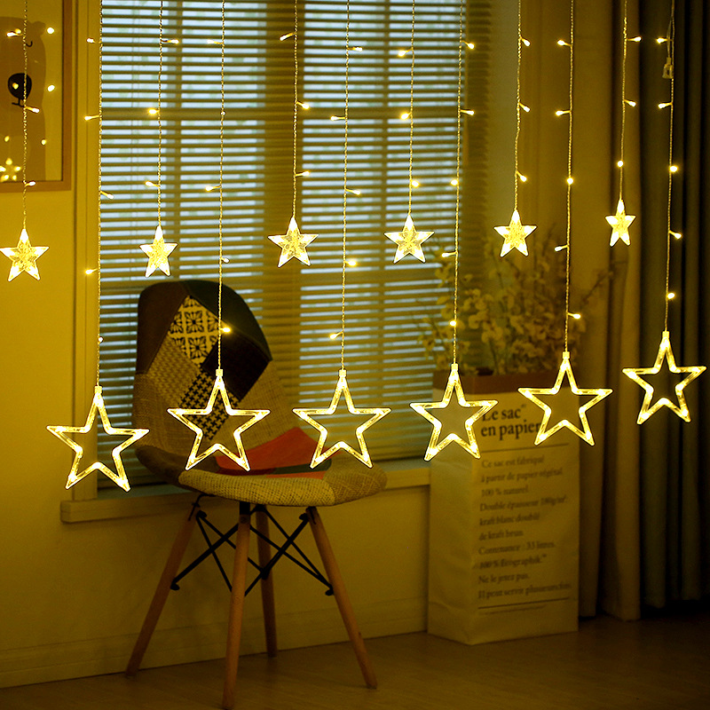 2M 138LED Romantic Fairy Star Led Curtain String Light Warm white EU220V/Battery Box Garland Light Wedding Party Holiday lamps 12 leds romantic fairy star led curtain string light warm white eu us 220v xmas garland light for wedding party holiday deco