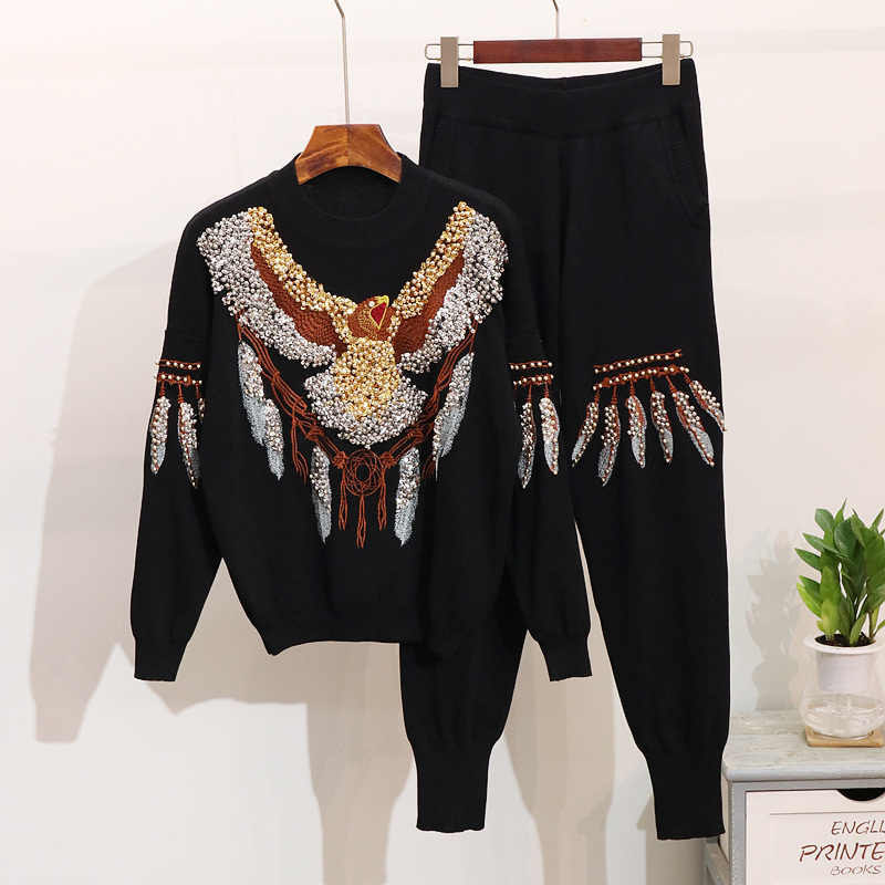 Autumn Women s Long Sleeve Retro Knitting Pullover Pants Set Sequin Beading Sweater Pants Two Piece