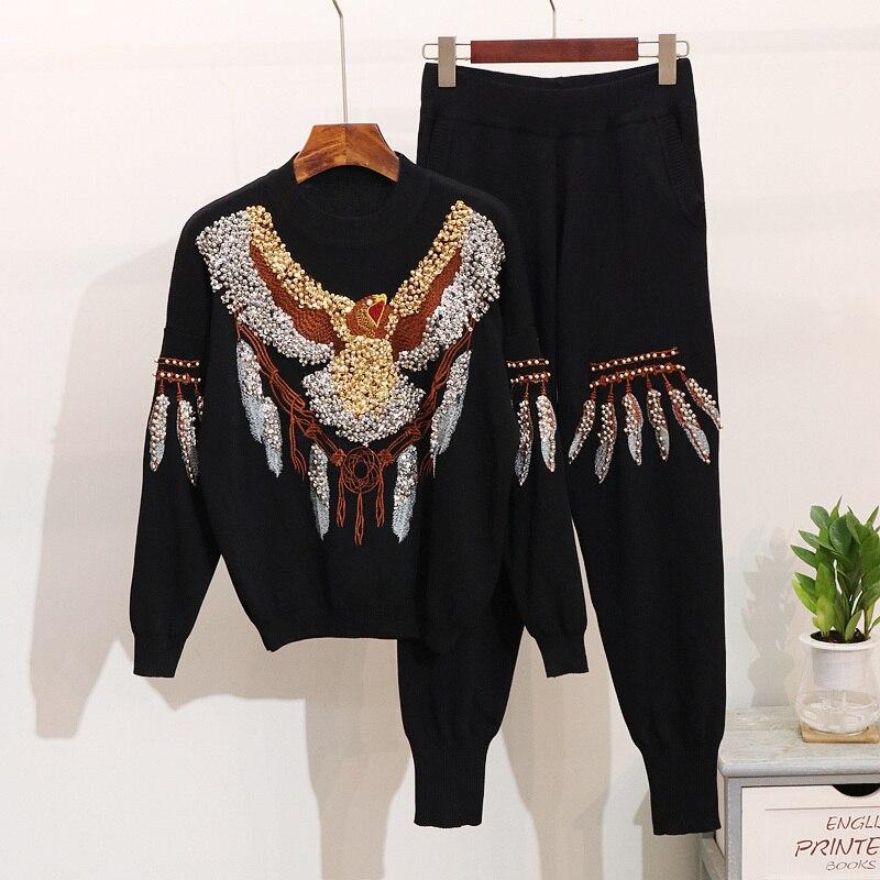 ฤดูใบไม้ร่วงผู้หญิงแขนยาว Retro ถัก Pullover กางเกงชุดเลื่อมประดับด้วยลูกปัดเสื้อกันหนาว + กางเกง 2 ชิ้นหญิงกางเกงชุด-ใน ชุดสตรี จาก เสื้อผ้าสตรี บน   1