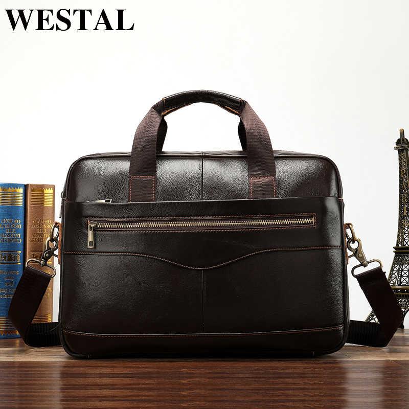 30f554e043fb WESTAL натуральная кожа сумка мужская сумка через плечо Повседневная мужская  сумка-портфель для ноутбука Мужская