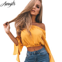 Awaytr Fashion Long Sleeve Blouse Women Solid Shirt Sexy Crop Top Blouses Clothing Blusas Off Shoulder