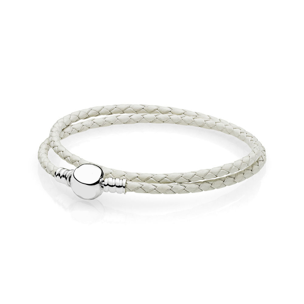 925 Sterling Silver Bangles Bracelet Chain White Double-layer Leather Rope Chain for Charms Beads & Pendants For Women XPA042 сушко ю м друзья высоцкого проверка на преданность