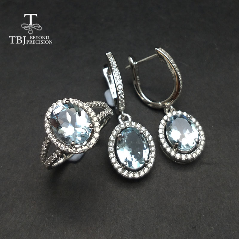 TBJ Natural Aquamarine gemstone ring and Earring Jewelry set in 925 sterling silver unique gift for