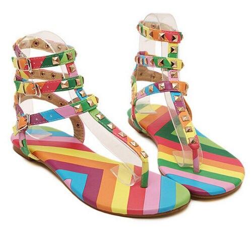 Size 35-45 New Gladiator Sandals Women Shoes Flats Multicolor Rivets Sandals Buckle Sandals 2017 Elegant Casual Summer Sandals
