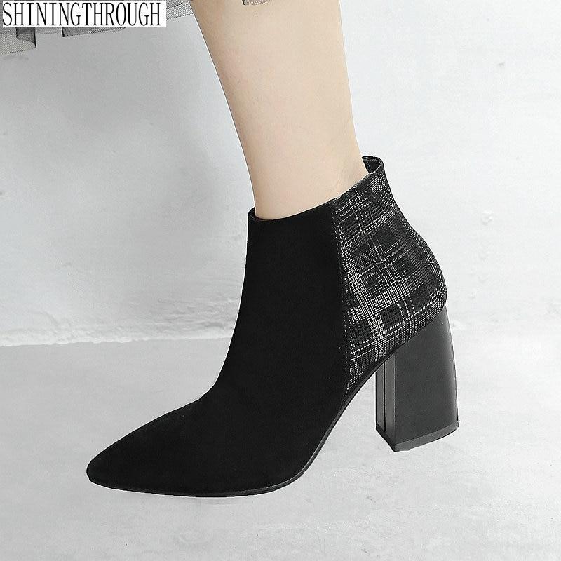 9e55526c8 Tacón Zapatos Retazos 42 Nuevas Para Cuero Negro Mujer Alto De Puntiaguda  Con Mujer Vestir Botas ...