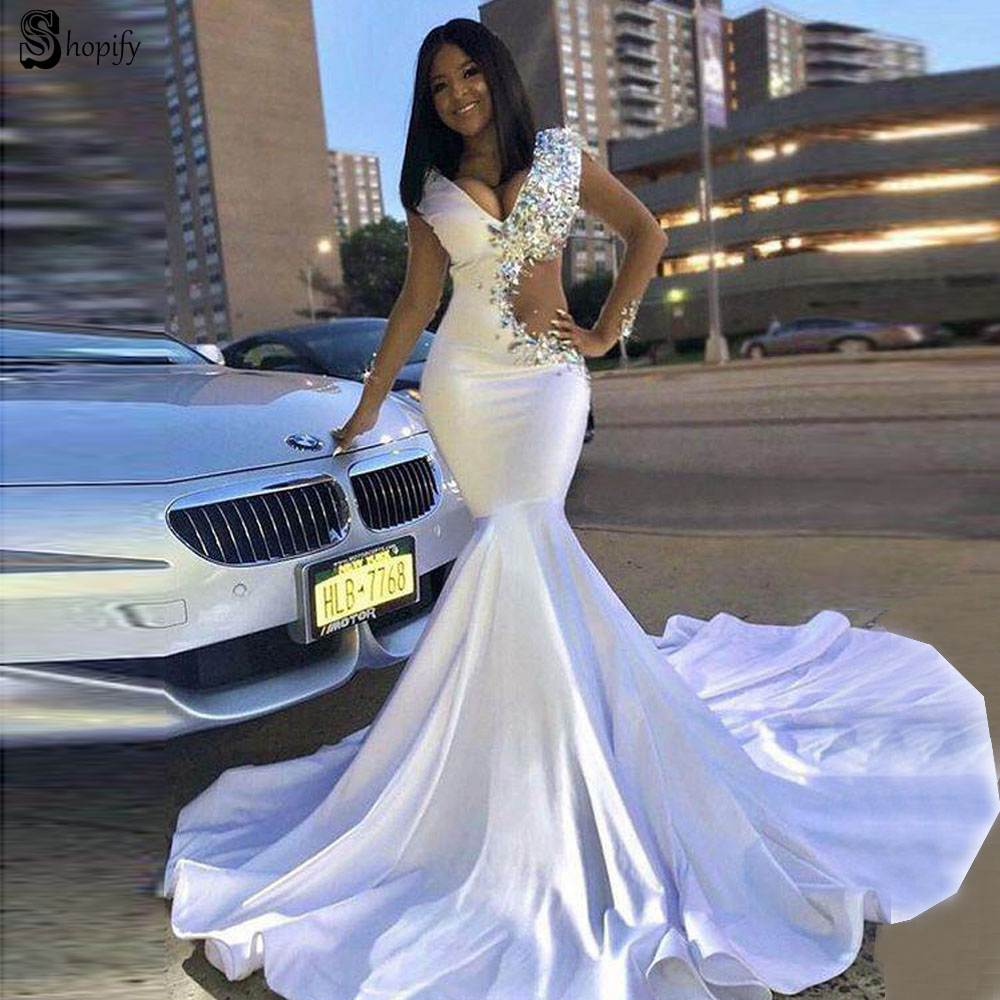 White Wedding Dress 2019: Long Prom Dresses 2019 Sexy V Neck Crystals New Design
