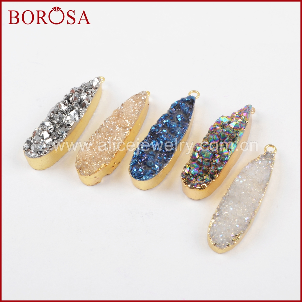BOROSA Teardrop Gold Color Natural Crystal Druzy Titanium Rainbow Blue Silver Champagne Druzy Charm for Drusy