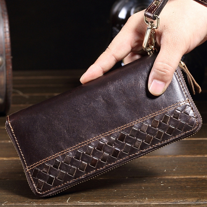 MANJIANGHONG Genuine Crazy Horse Cowhide Leather Men Wallets Fashion Purse With Card Holder Vintage Long Wallet Clutch Wrist Bag crazy horse leather billfolds wallet card holder leather card case for men 8056r 1