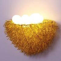 4 eggs Bird's Nest LED wall lamps Creative nest Art Lamp bedroom children's room lighting shop silver/golde wall lights ZA