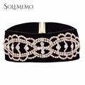 Negro Torques Collar Collar Llamativo Vintage Simple Amplia Terciopelo Elegante Crystal Rhinestone Choker Collar Para Las Mujeres N5341