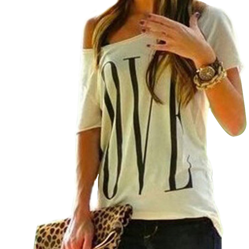 Loose One Shoulder Fashion Design Letter Casual T-shirt