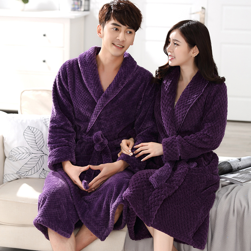 New Fashion Men Women Winter Long Warm Bathrobe Thick Soft Flannel Waffle Kimono Bath Robe Male Coral Fleece Robes Dressing Gown
