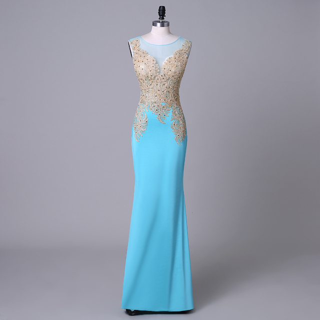 Sexy Tiffany Blau Prom Kleider 2016 Sheer Neck Perlen Applikationen ...