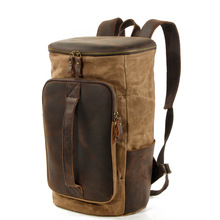 Men Outdoor Casual Vintage Wax Waterproof Canvas Backpack Teenager Cylindrica Sporty Travel Bookbag School Bags fischer sporty wax nis 187