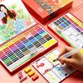 BGLN 36/48 Kleuren Effen Water Kleur Verf Set Met Water Borstel Aquarel Pigment Pocket Set Voor Tekening Art Supplies