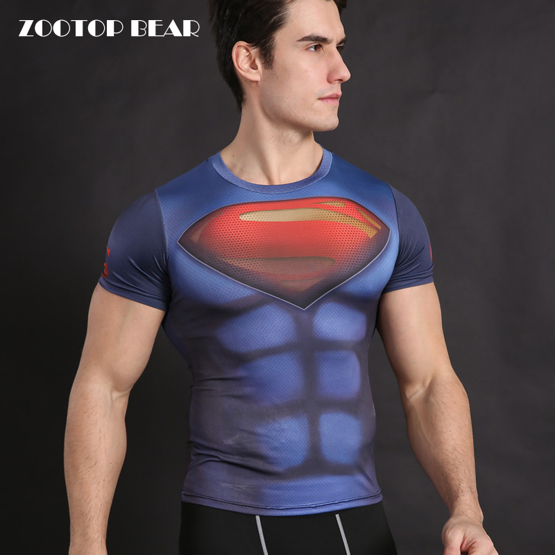Superman t shirt Men Tops batman vs superman Tees Fitness Shirt Compression T-Shirt Crossfit Bodybuilding Camiseta ZOOTOP BEAR