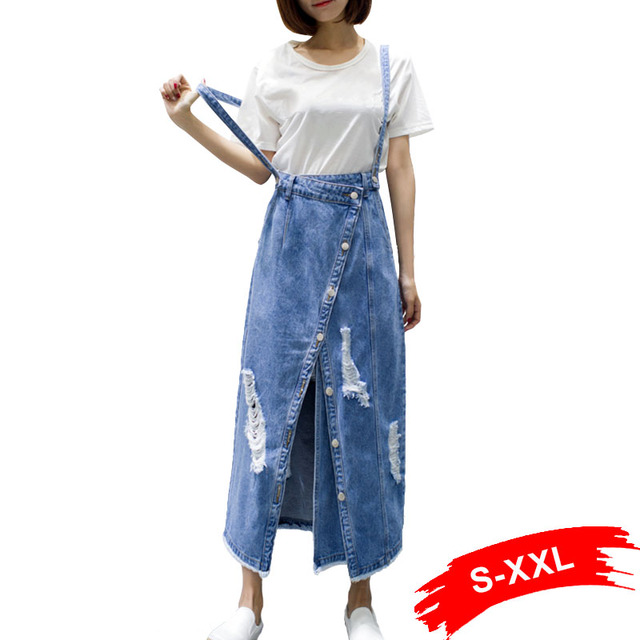 f7a152b4e2 Spring Summer Front Split Holes Ripped Denim Skirt Women Casual Plus Size Maxi  Skirts Button Up