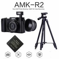 AMKOV AMK R2 24MP 1080P Digital SLR Camera + Wide angle Lens Camcorder DVR A26B + Extra Battery + VCT 520 Tripod Photo Trap