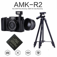 AMKOV AMK R2 24MP 1080P Digital SLR Camera + Wide angle Lens Camcorder DVR A26B + Extra Battery + VCT 520 Tripod Photo Trap