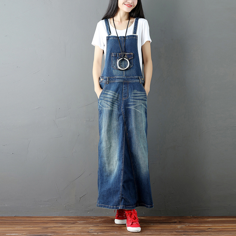Women spaghetti strap denim maxi dress long sleeveless blue jeans dresses vintage plus size Floral print Female Denim Dress