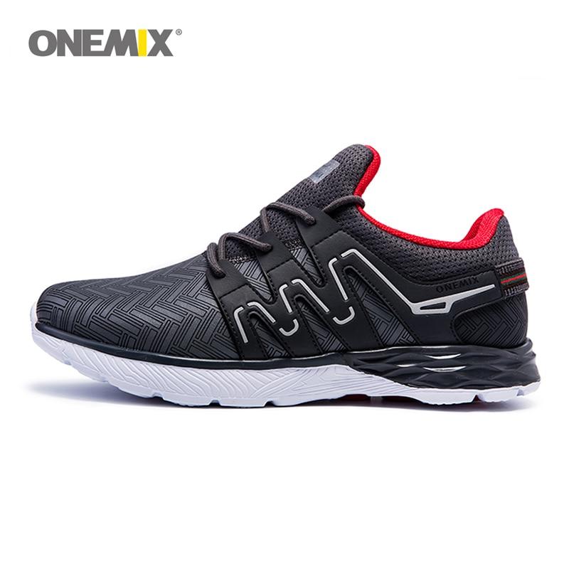 Onemix Pria Sepatu Lari Sepatu Kulit Reflektif Sepatu Atletik Laki-laki Olahraga Sneakers Ringan untuk Trekking Jogging