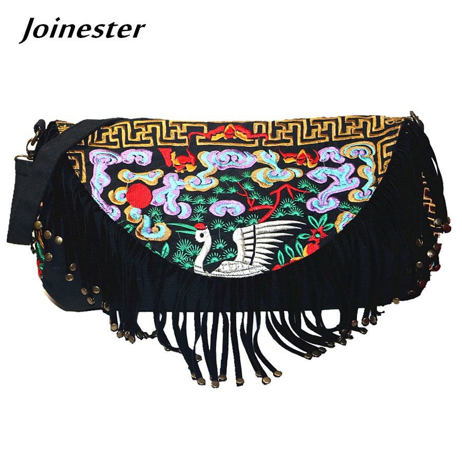 Retro Vintage Ethnic Embroider Shoulder Bag Boho Tassel Casual Tote Messenger Bag Canvas Hippie Crossbody Purse Bag