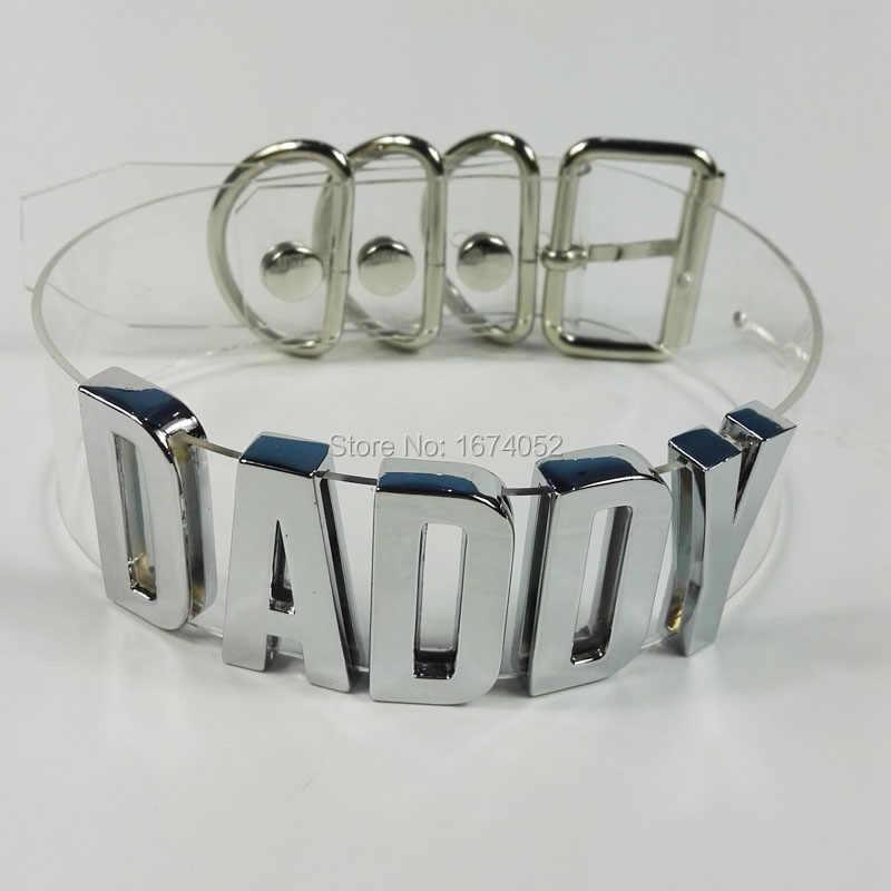Punk Gothic Women Men Unisex 100% Handmade Silver Letter Choker Daddy  Lolita Word Name Collar d80b0792e5b1