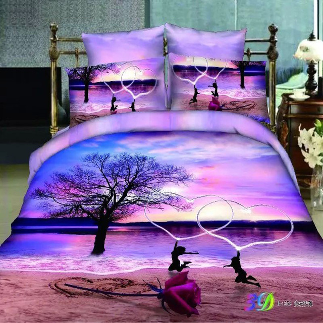 Fashion Home Textile Sets Lake Sunset Lovers Rose 3d Beach Bedding Set,Light  Purple Duvet