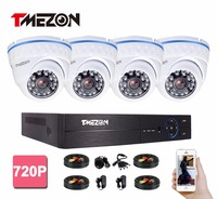Tmezon HD 4CH 1080P DVR 4Pcs 1200TVL 720P Dome Camera Home Security Surveillance System P2P Remote