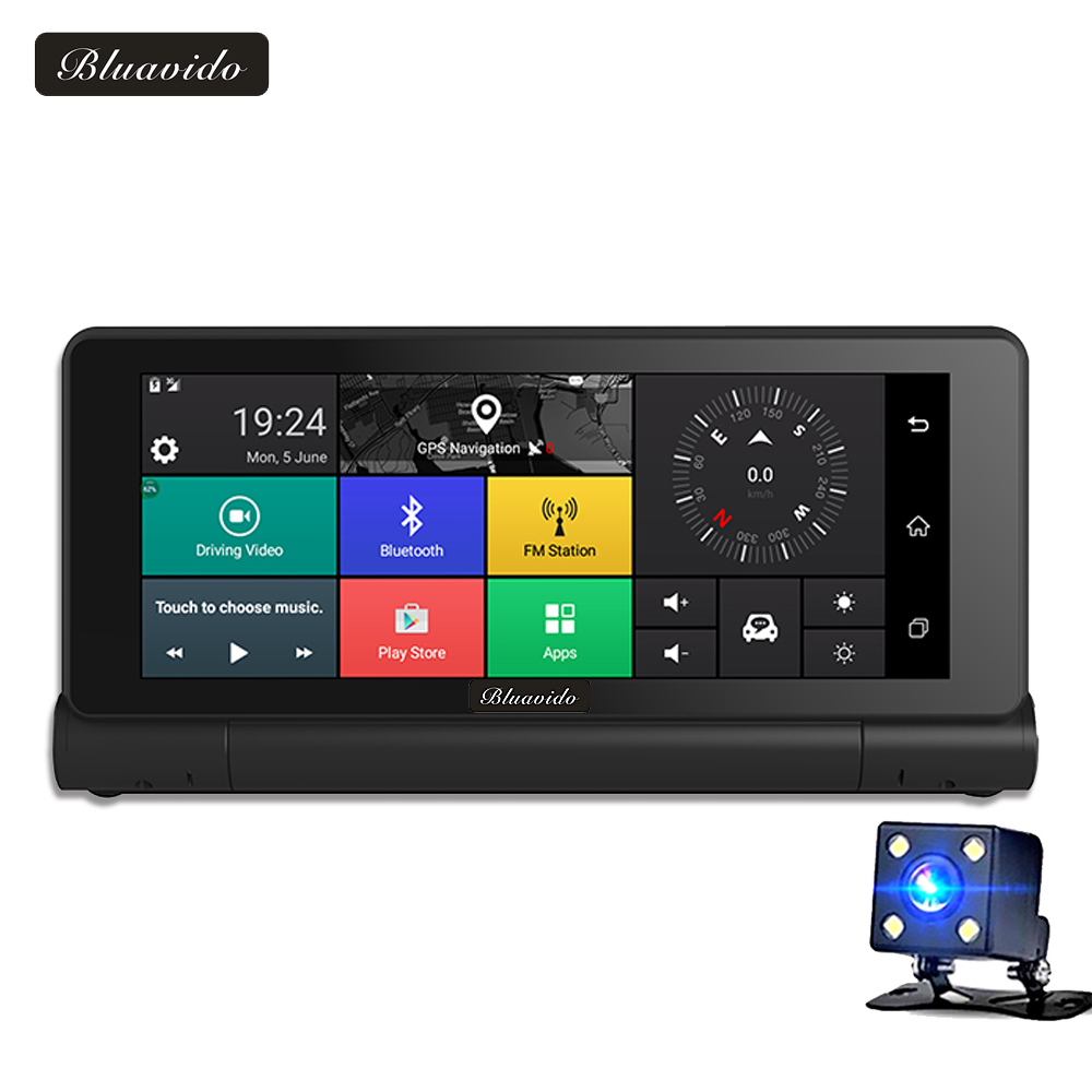 Bluavido 6.86 4G Car DVR Camera Android GPS Navigation Full HD 1080P Video Recorder ADAS Dash cam Bluetooth WIFI Car detector hot 7 inch android 4 0 quad core car gps navigation with dvr recorder 1080p 8g media player fm transmitter support wifi igo map