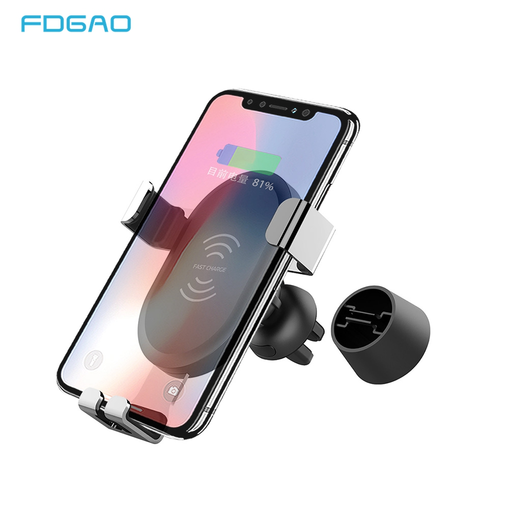10W Automatic Gravity Car Qi Wireless Charger For iPhone XS X XR 8 Fast Charging Air Vent Phone Holder For Samsung S10 S9 S8 S7
