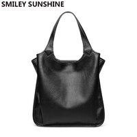 SMILEY SUNSHINE Soft genuine leather ladies bag female shoulder bag women's leather handbags luxury tote big bags for women 2019