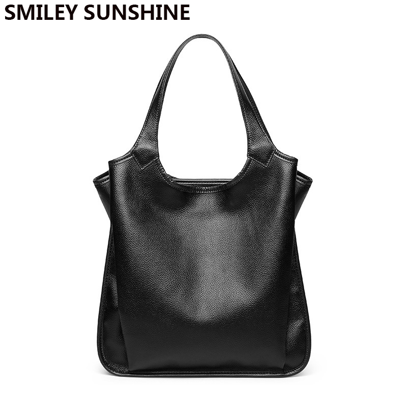 SMILEY SUNSHINE Soft genuine leather ladies bag female shoulder bag womens leather handbags luxury tote big bags for women 2019SMILEY SUNSHINE Soft genuine leather ladies bag female shoulder bag womens leather handbags luxury tote big bags for women 2019