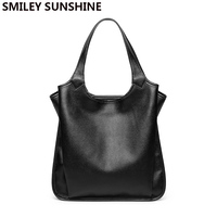 SMILEY SUNSHINE Soft genuine leather ladies bag female shoulder bag women's leather handbags luxury tote big bags for women 2019
