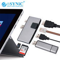 eSYNiC Portable Surface Pro hub With 1000M Ethernet LAN + 2 Port USB 3.0+Mini DP to HDMI + SD/TF(Micro SD) Memory Card Adapter