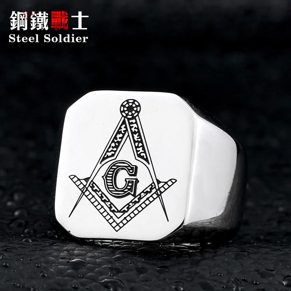 स्टील सैनिक नई शैली स्टेनलेस स्टील मेसोनिक अंगूठी पुरुषों के लिए क्लासिक उच्च गुणवत्ता के गहने unqiue पुरुषों की अंगूठी
