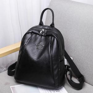 Image 2 - Popular Joker Female Backpack Casual Shopping Women Bag Fashion Soft Pu Leather Student Bagpack Classic Black Design Lithe