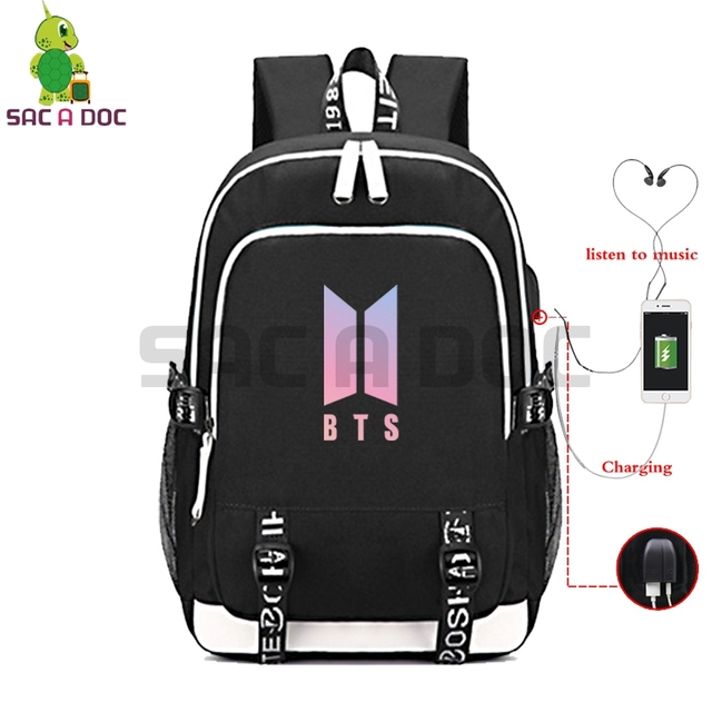 6f44e128875b Kpop BTS Bangtan Boys Multifunction Backpack USB Charging Luminous School  Bags for Teenage Girls Boys Hip